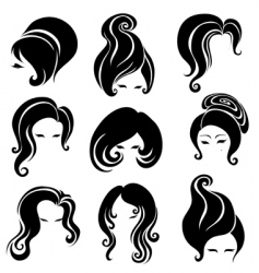big set of black hair styling for woman vector image