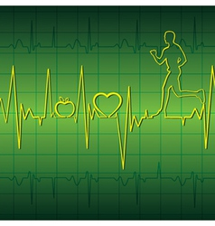 green heart beat graph background with running men vector image