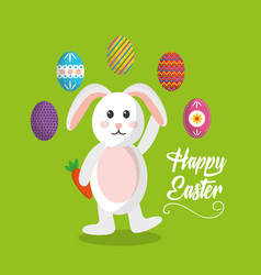 happy easter bunny waving hand and eggs colored vector image