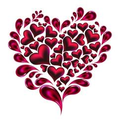 Hearts splash made of hearts and drops vector image vector image