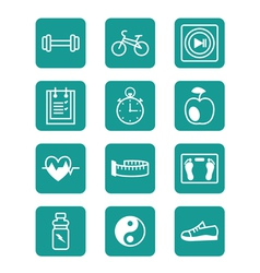 Icons set sports and fitness vector image