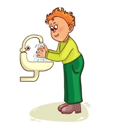 Little man washes his hands image vector image vector image