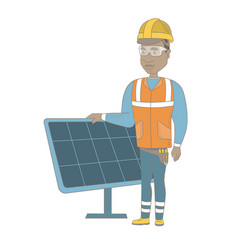Young african-american worker of solar power plant vector