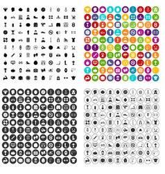 100 bodybuilder icons set variant vector