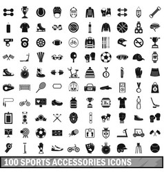 100 sport accessories icons set simple style vector