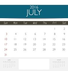 2016 calendar monthly calendar template for July vector