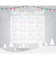 2017 Calendar on Merry Christmas vector