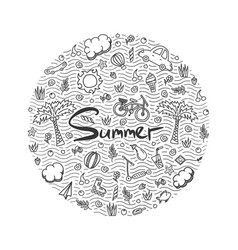a summer holiday doodle vector image