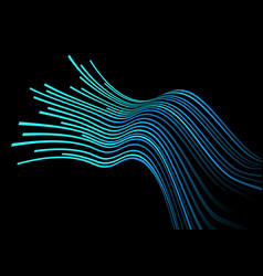 abstract blue light line curve on black design vector image