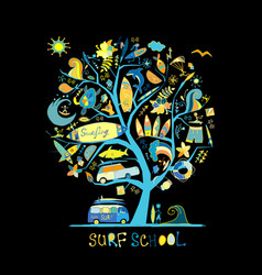 Art tree with surfing design elements surf school vector