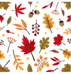 Autumn foliage hand drawn seamless pattern vector