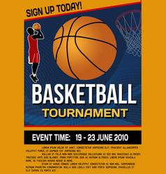 Basketball tournament flyer or poster vector