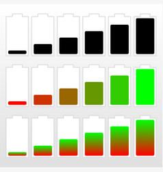 Battery level indicator set vector
