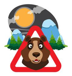 Bear caution wild animals sign wildlife habitat vector