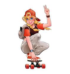 beautiful skater girl vector image