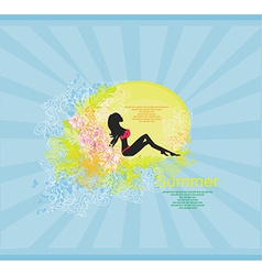 Bikini girl Grunge Poster vector