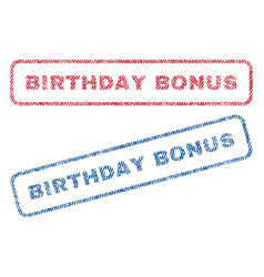 Birthday bonus textile stamps vector