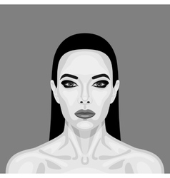 Black and white Vampire Woman retro Cartoon vector image