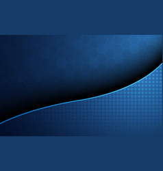 Blue honeycomb with blue wave curve abstract vector