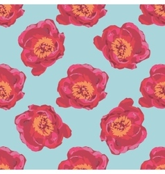 Bouquet of red peony flowers seamless summer vector
