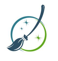 broom symbol for cleaning vector image