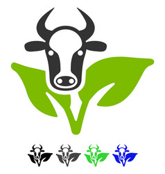 Bull and plant flat icon vector