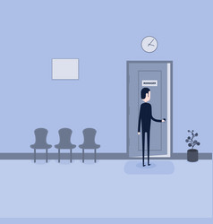 businessman opening the door of manager vector image