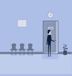 Businessman opening the door of manager vector