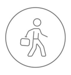Businessman walking with briefcase line icon vector