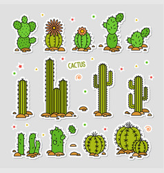 cacti in the desert elements vector image