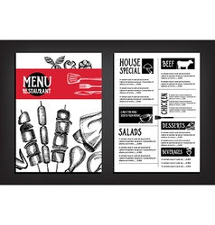 Cafe menu restaurant brochure Food design template vector image
