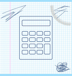 calculator line sketch icon isolated on white vector image
