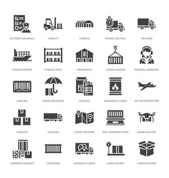Cargo transportation flat glyph icons trucking vector