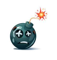 Cartoon bomb fuse wick spark icon dead smiley vector