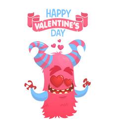 cartoon pink horned monster in love vector image