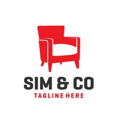 Chair furniture logo design vector