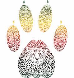 Cheetah color footprint vector