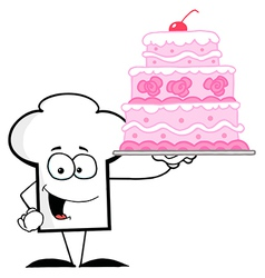 Chef Hat Guy Holding A Pink Cake vector image