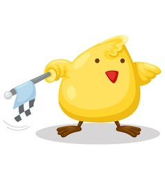 chick with checkered flag vector image