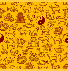 Chinese horoscope animals and symbols pattern vector