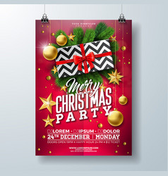 christmas party flyer with gift box vector image