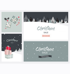 christmas winter landscape background christmas vector image
