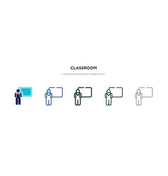 Classroom icon in different style two colored vector