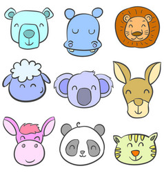 collection stock of animal colorful doodles vector image