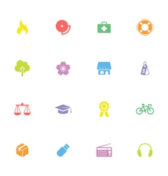 colorful simple flat icon set 6 vector image