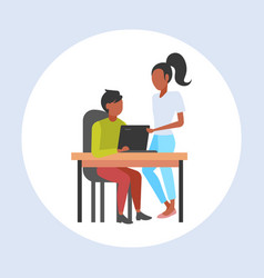 couple businesspeople using laptop at workplace vector image