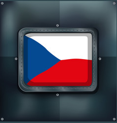 Czech republic flag on square frame vector