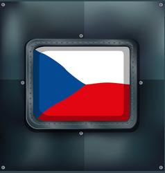 czech republic flag on square frame vector image