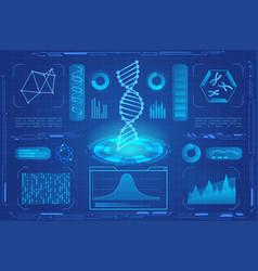 Dna modern neon light hologram vector