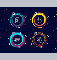 Edit document hand click and payment method icons vector